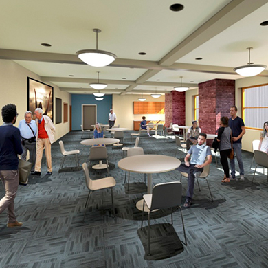 An artist's rendering of the renovated Assembly Room at Brown Memorial.
